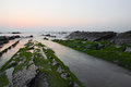 Green moss covered rocks in barrika beach spain Stock Images