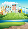 Green mountains near the river and the buildings illustration of Stock Photo