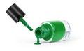 Green nail polish on a white background Royalty Free Stock Photo