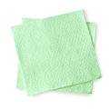 Green napkin for the dinner table on white with clipping path Stock Photography