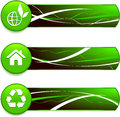 Green Nature Icons on Internet Buttons with Banners Royalty Free Stock Photo