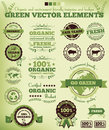 Green nature package stamps ecology and natural badges and scalable vector elements Royalty Free Stock Photos