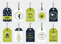 Green and navy blue Christmas assorted gift tags set Royalty Free Stock Photo