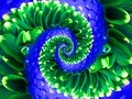 Green navy flower spiral abstract fractal effect pattern background. Floral spiral abstract pattern fractal. Surreal green blue Royalty Free Stock Photo