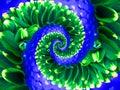 Green Navy Flower Spiral Abstr...