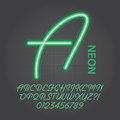 Green neon alphabet and numbers vector set of Stock Photos