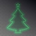 Green neon Christmas tree with star isolated. Transparent light effect. Vector illustration. Royalty Free Stock Photo