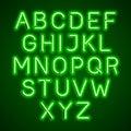 Green neon light glowing font