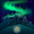 Green northern lights over mountains realistic vector night. Royalty Free Stock Photo