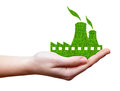 Green Nuclear power plant icon in hand Royalty Free Stock Photo