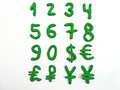 Green numbers and money currency. Royalty Free Stock Photo