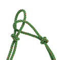 Green nylon rope tied the knot Royalty Free Stock Photo