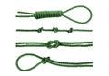 Green nylon rope tied the knot Royalty Free Stock Photo
