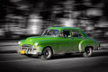Green old car havanna cuba black white background Royalty Free Stock Photography