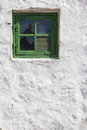 Green Old Window On White Wall...