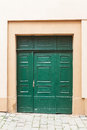 Green old wooden doors