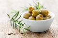 Green olives in a bowl Royalty Free Stock Images