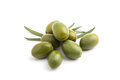 Green olives detail of several on a white background Stock Images