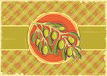 Green olives old vintage background design Royalty Free Stock Photo