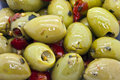 Green olives spicy close up as a background Royalty Free Stock Photography