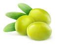Green olives three over white background Royalty Free Stock Images