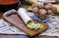 Green onion and mushrooms with on wooden table with accessories Stock Photos