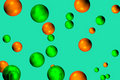 Green and Orange Bubbles Stock Image