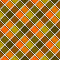 Green orange diagonal check plaid seamless pattern
