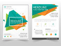 Green orange triangle geometric Leaflet Brochure Flyer annual report template design, book cover layout design Royalty Free Stock Photo