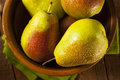 Green organic healthy pears ripe and ready to eat Royalty Free Stock Image