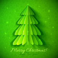 Green origami christmas tree greeting card vector Royalty Free Stock Image
