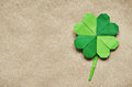 Green origami paper shamrock clover Royalty Free Stock Photo