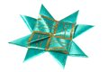 Green origami star from ribbon Stock Images