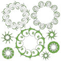 Green ornament collection Royalty Free Stock Photo