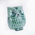 Green owe ceramic on isolated white Royalty Free Stock Photo