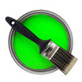Green paint with paintbrush Stock Image