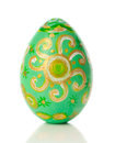 Green painted easter egg isolated white background Stock Photography