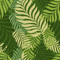 Green palm tree leaves. Vector seamless pattern. Nature organic