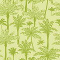Green palm trees seamless pattern background vector with hand drawn elements Royalty Free Stock Photo