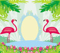 Green palms and pink flamingo vintage frame Royalty Free Stock Photography