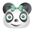 Green panda a with eyes and bow Royalty Free Stock Photography