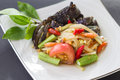 Green papaya salad with crab is thai food Stock Image