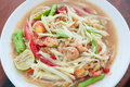 Green papaya salad hot and spicy thai cuisine som tum speak Stock Photos