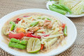 Green papaya salad hot and spicy thai cuisine som tum speak Royalty Free Stock Image