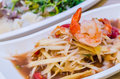 Green papaya salad with shrimp Stock Photo