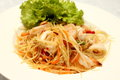 Green papaya salad som tam is a very popular traditional and modern thai food Stock Photography