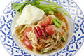 Green papaya salad somtam famous thai food Royalty Free Stock Image