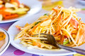 Green papaya salad somtum thai food Royalty Free Stock Photo