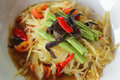 Green papaya salad white plate Royalty Free Stock Photo