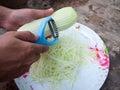 Green papaya slice a pepairing to do salad Royalty Free Stock Images